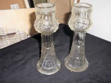 "ANTIQUE PAIR CUT CRYSTAL GLASS BOTTLES NO LIDS SUPERB SHAPE & CUTS 6.5"" UV GLOW"